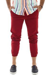 Calça Jogger Masculina Sarja Com Lycra Vermelha Multicolorido