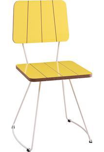 Cadeira Costela Meia Lua-Daf Mobiliário - Amarelo
