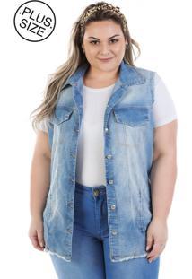 f8db3c9dd Colete Plus Size - Confidencial Extra Jeans Maxi Vinil Com Elastano
