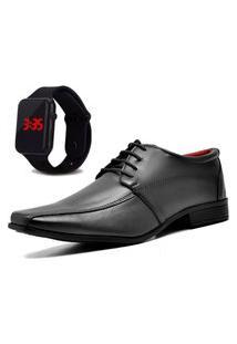 Sapato Social Com Relógio New Dubuy 804Mr Preto
