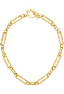 Brinker & Eliza Gold Tone Checkmate Wide Link Choker - Dourado