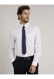 Camisa Social Masculina Comfort Maquinetada Com Bolso Manga Longa Rosa Claro