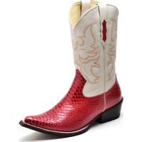 2cf09c024 Bota Country Top Franca Shoes Bico Fino Anaconda Marfim Masculina -  Masculino-Vermelho Claro+