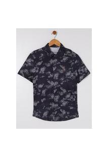 Camisa Estampada Juvenil Para Menino - Cinza