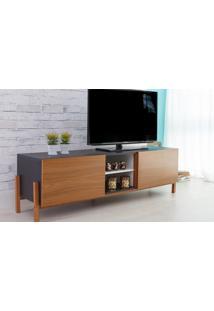 Rack Tv Preto Moderno Vintage Retrô Com 2 Portas Freijo Eric - 166X43,6X48,5 Cm