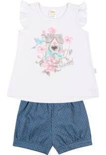 f06508341f5 Conjunto Jeans Poá Bebê Menina Cotton Jeans - Feminino-Branco