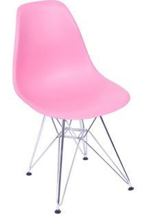 Cadeira Eames Dkr- Rosa & Prateada- 80,5X46X42Cmor Design