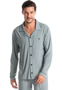 Pijama Masculino Abotoado Longo Listrado Guilherme
