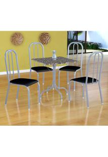 Conjunto De Mesa Malaga Com 4 Cadeiras Madri Branco Prata E Preto Liso