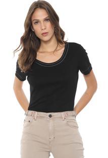 Camiseta Ellus Bordada Preta