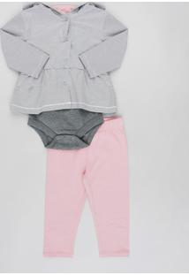 Conjunto Infantil De Jaqueta Com Capuz Listrada + Body Manga Curta Cinza Mescla + Calça Rosa