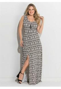 d57707af35 Vestido Plus Size Longo Fenda Étnico Quintess - Feminino