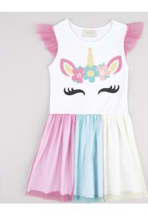 Vestido Infantil Carnaval Unicórnio Com Tule Sem Manga Branco