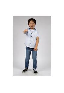 Camisa Manga Curta Infantil Menino 4 Ao 8 Azul