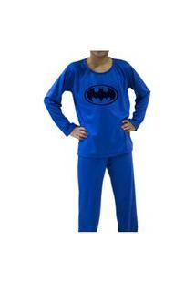 Pijama Batman Infantil Inverno Manga Longa Azul
