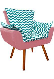 Poltrona Decorativa Opala Suede Composê Estampado Zig Zag Verde Tiffany D78 E Suede Rose - D'Rossi