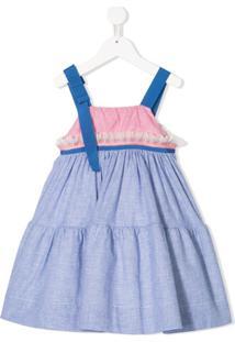 Mi Mi Sol Vestido Com Babados E Amarração - Azul