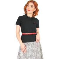 0eae333f22 Camisa Polo Cherry Pie Logo Preta
