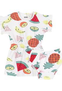Vestido Bebê Estampado Com Calcinha