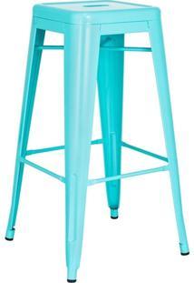 Banqueta Alta Iron Tolix - Industrial - Aço - Vintage - Azul Tiffany