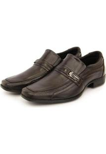Sapato Social Masculino Couro Elástico Dia A Dia Clássico - Masculino-Marrom