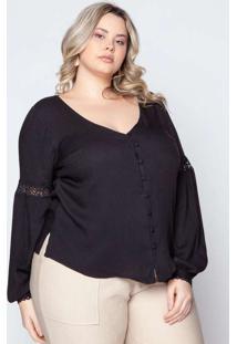 Camisa Almaria Plus Size Pianeta Renda Preto
