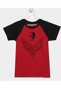 Camiseta Infantil Corvette Raglan Sting - Masculino-Vinho+Preto