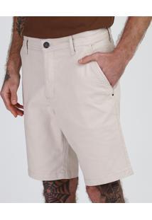 Bermuda De Sarja Masculina Slim Com Bolsos Off White