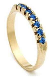 Meia Aliança Banhada Ouro 18 K Pedras Topázio - 1010004-Aro Horus Import Feminina - Feminino-Dourado