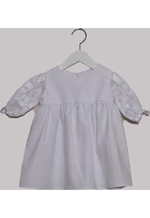 Vestido Infantil Linho E Renascença Bless My Baby Batizado Branco