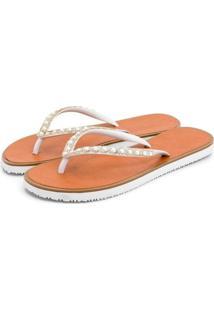 Chinelo Rasteira Mr Shoes Bordado Pedraria 6303 - Branco - Kanui