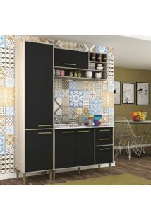 Cozinha Compacta 3 Peças 5 Portas Vitória Siena Móveis Crema Tx/Onix