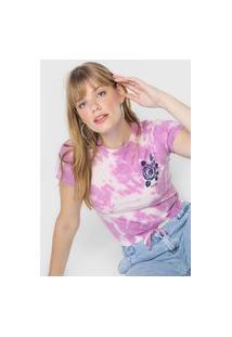 Camiseta Cropped Aeropostale Tie Dye Roxa