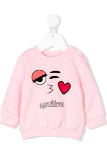 Fendi Kids Moletom '#Fendilove' Com Estampa - Rosa
