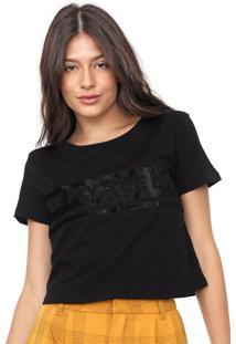 Camiseta Cropped My Favorite Thing(S) Recortes Veludo Preta
