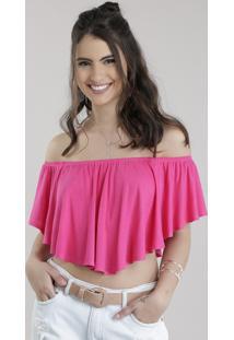 Blusa Cropped Ombro A Ombro Com Babado Pink
