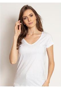 Camiseta Aleatory Feminina Gola V Básica - Feminino-Branco