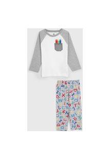 Pijama Brandili Longo Infantil Lettering Cinza/Branco