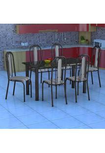 Conjunto De Mesa Com 6 Cadeiras Granada Preto Listrado Gr