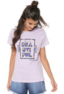Camiseta Tricats Estampada Beautiful Roxa