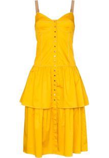 See By Chloé Vestido Bustier Com Abotoamento E Saia Em Camada - Amarelo