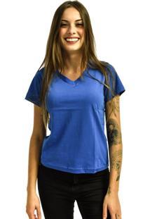 Camiseta Nakia Gola V Básica Feminina Lisa Malha Manga Curta Azul Royal