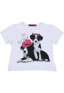 Camiseta Infantil Tassa Estampada Feminina - Feminino-Branco