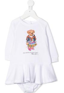 Ralph Lauren Kids Vestido Com Calcinha E Estampa De Ursinho - Branco