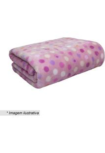 Cobertor Baby Bolinhas- Rosa Claro & Rosa- 90X110Cm