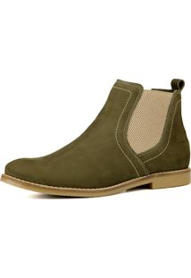 Bota Chelsea Masculina Mr Shoes Em Couro Verde Oliva - Kanui
