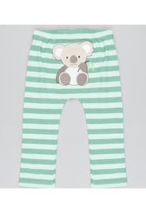 Calça Infantil Coala Listrada Verde Claro