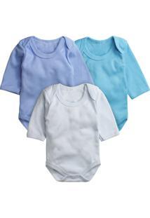 Body Para Bebê Kit Com 3 Peças Era Uma Vez Liso