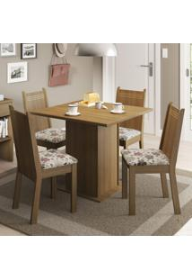 Conjunto De Mesa Com 4 Cadeiras Kate Rustic E Floral Hibiscos