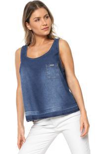 e69d2e88a52ae Regata Jeans Lunender Detalhe Bolso Azul